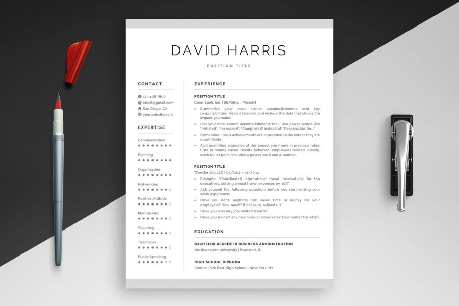 "Clean Resume Template ""David"" + BONUS 
