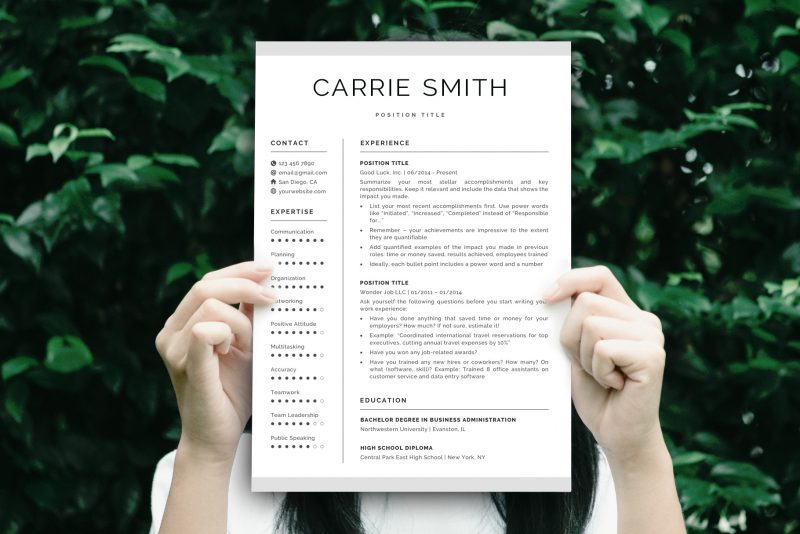 "Clean and Crisp Resume Template ""David"" + BONUS 