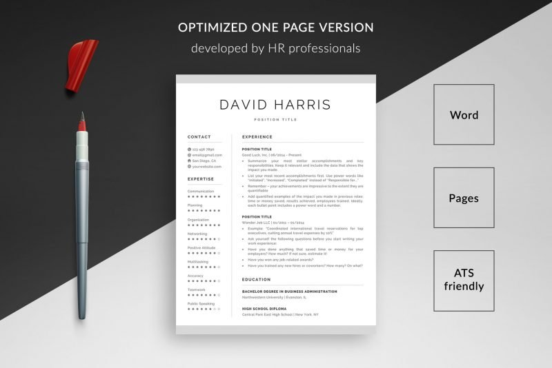 """David"" resume makeover package includes a 1-page resume template"