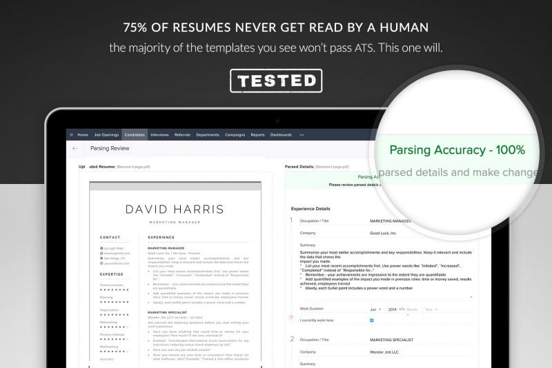 "ATS friendly resume template ""David"" - tested"