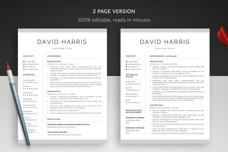 """David"" resume makeover package includes a 2-page resume template"