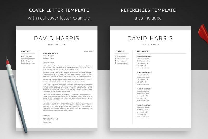 "Cover letter template (with example) and references template included in the resume makeover package ""David"""