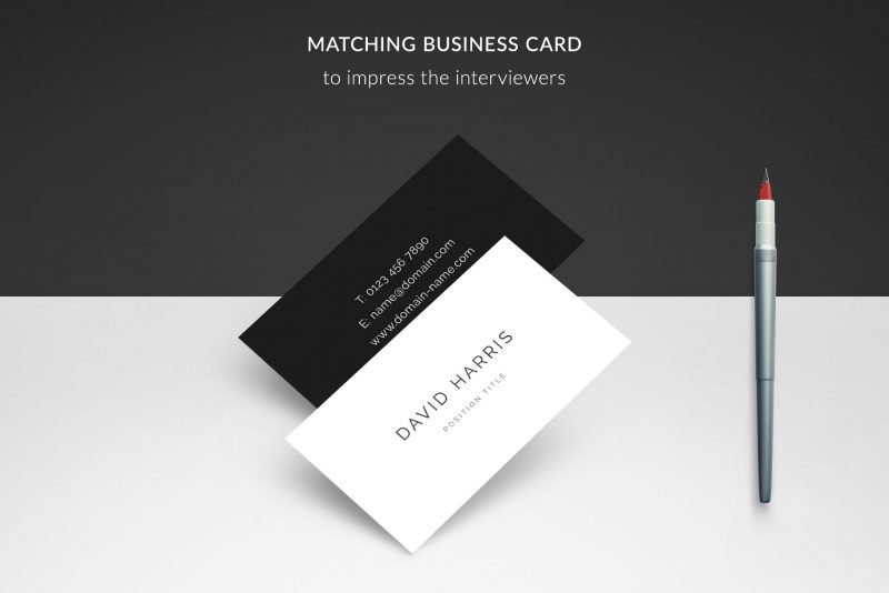 "Business card template included in ""David"" resume template package"