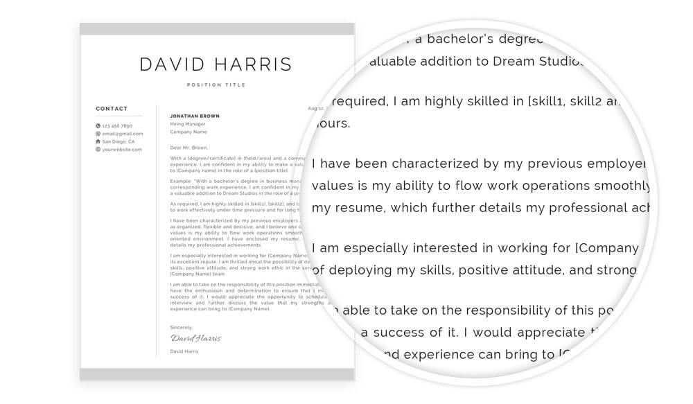 "Cover letter example included in ""David"" resume template pack"
