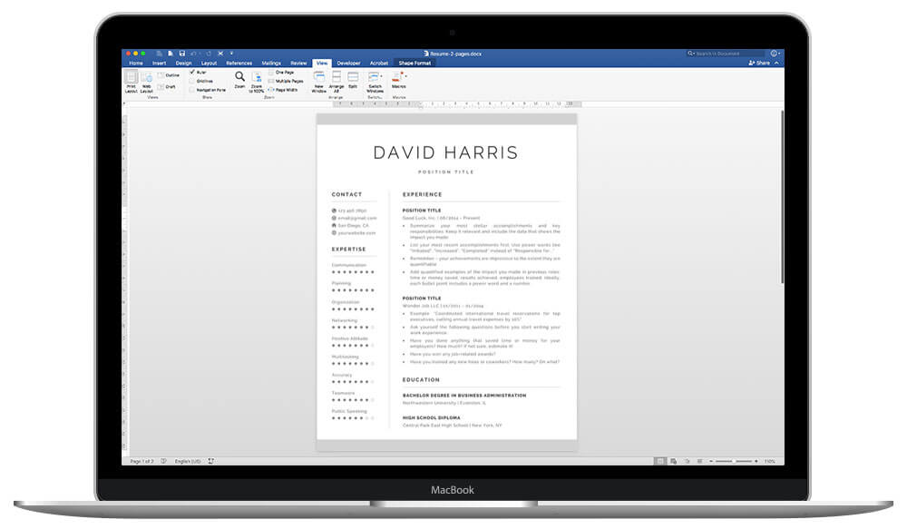 """David"" resume template is fully editable"
