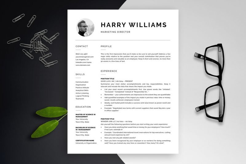 """Resume template with photo """"Harry"""" for Word and Pages"""