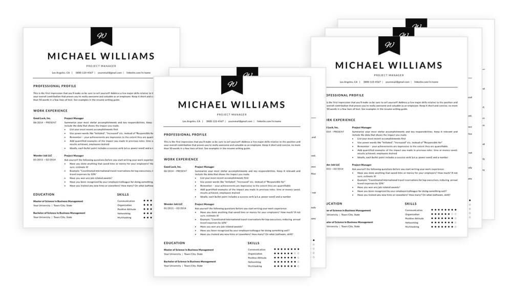 """1, 2 and 3 page resume templates in """"Michael"""" resume makeover package"""
