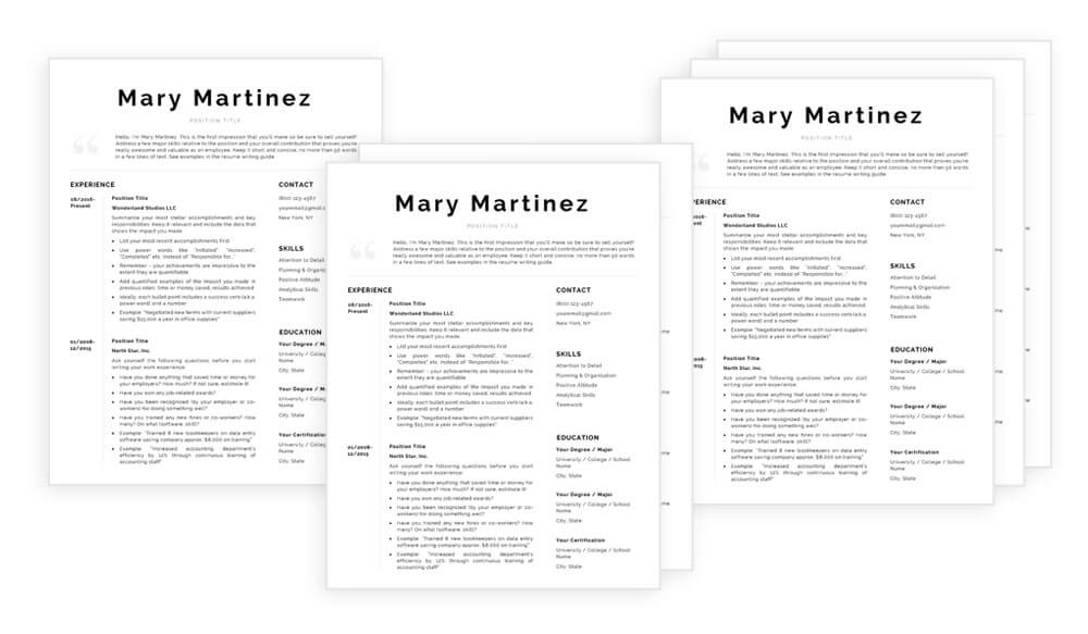 "Multiple page resume templates for Word and Pages included in ""Mary"" resume template /CV template package"