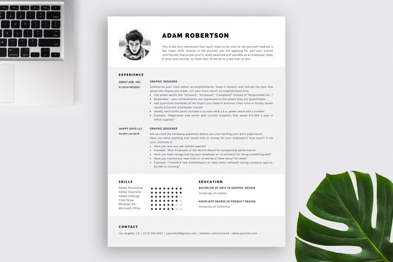 "One-page resume template with photo / CV template ""Adam"" by TemplateHippo"