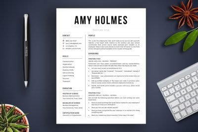 "Modern resume template / CV template ""Amy"" by TemplateHippo"