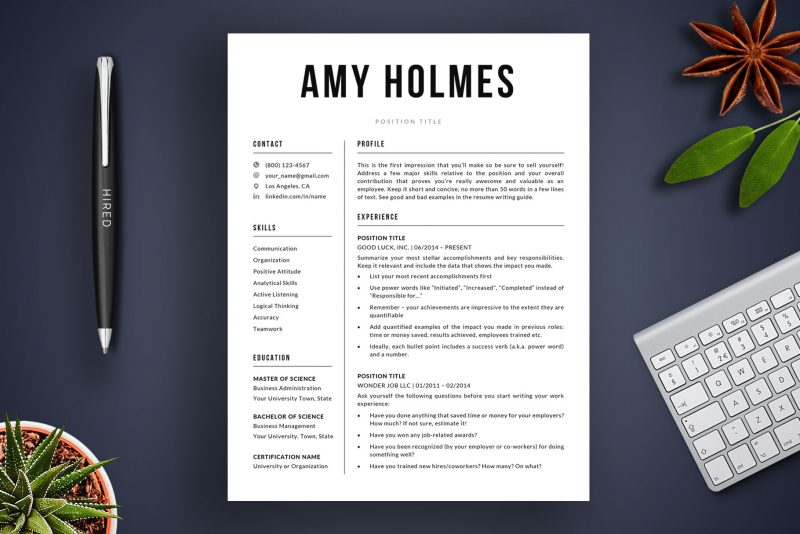 """Modern resume template / CV template """"Amy"""" by TemplateHippo"""