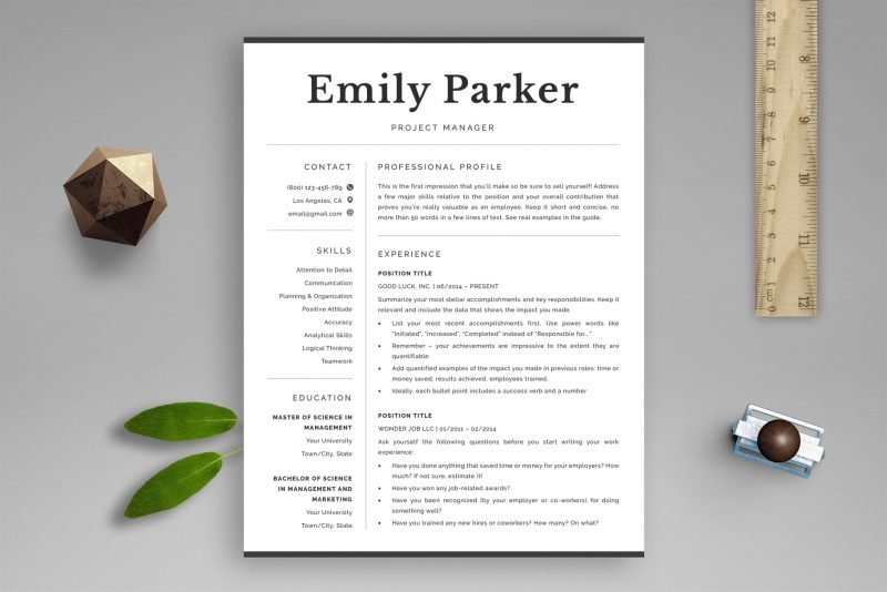 """ATS friendly resume template package """"Emily"""" for Word and Pages"""