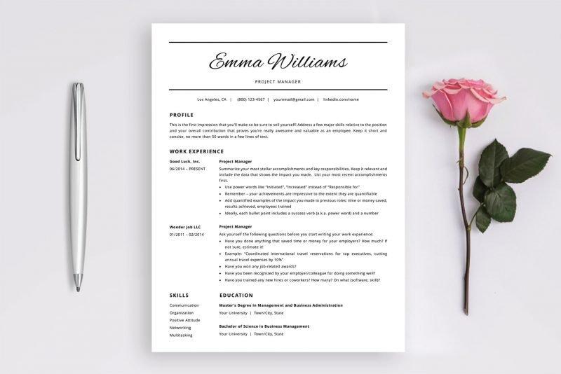 "Word CV template / Word resume template ""Emma"""