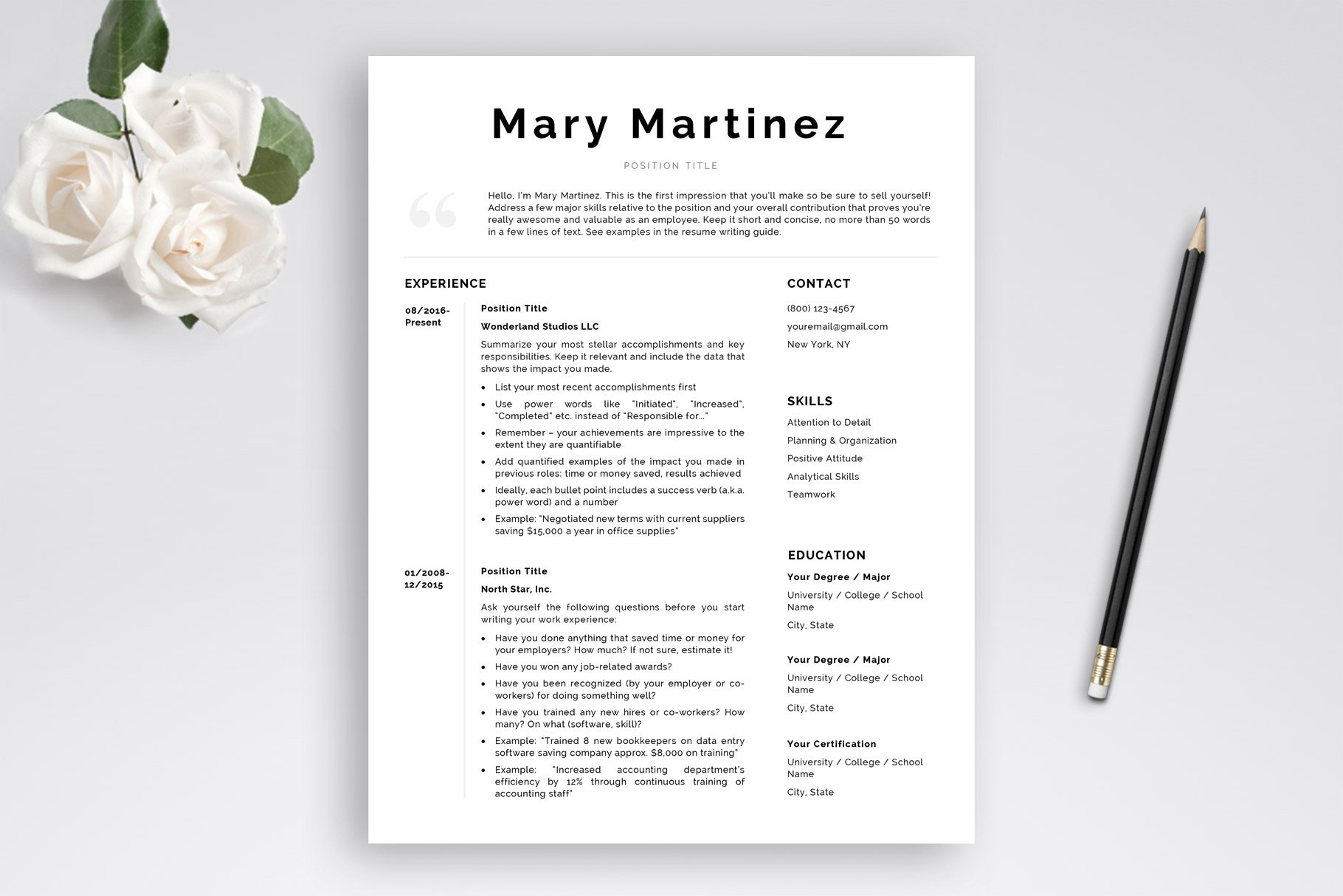 Modern Resume Template And Cover Letter Template Mary Bonus