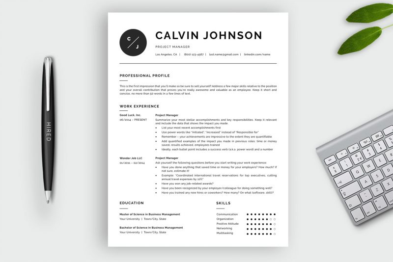 Professional black and white resume template / CV template for Word and Pages