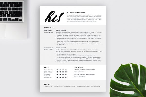 "Creative Resume Template ""Adam"" + BONUS 