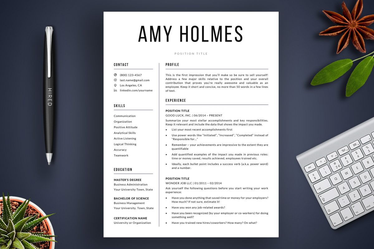 "Bold Resume Template ""Amy"" + BONUS | 1-Page Version"
