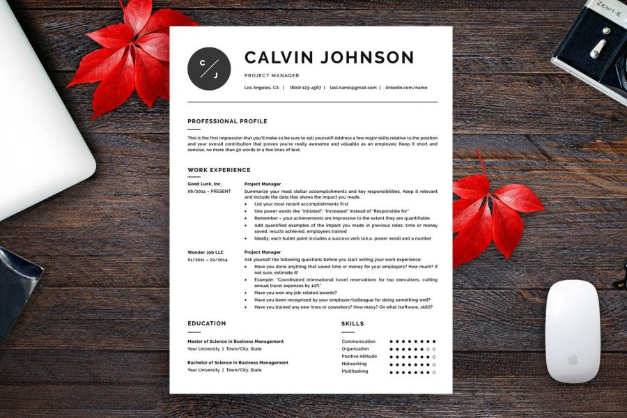 "Versatile Resume Template ""Calvin"" + BONUS 