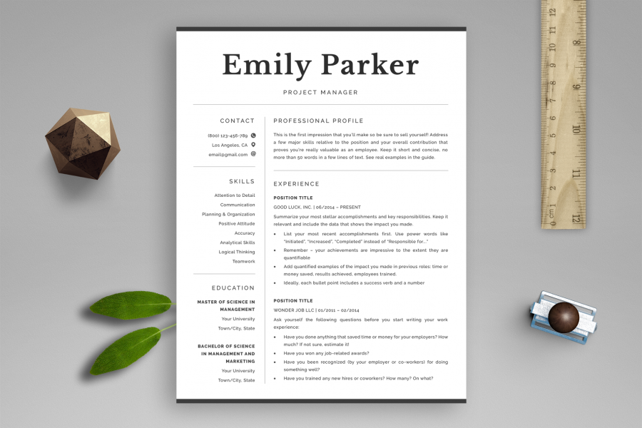 "Professional Resume Template ""Emily"" + BONUS 