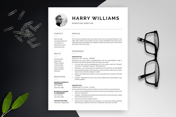 "Modern Resume Template ""Harry"" + BONUS 