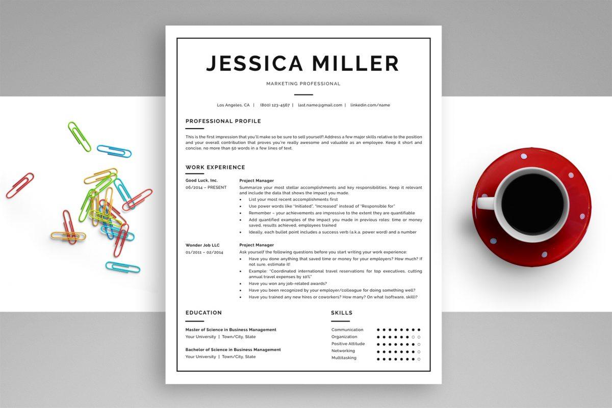 "Classic Resume Template ""Jessica"" + BONUS | One-Page Version"