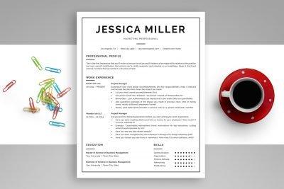"Classic Resume Template ""Jessica"" + BONUS   One-Page Version"