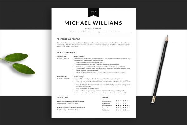 "Black & White Resume Template ""Michael"" + BONUS 