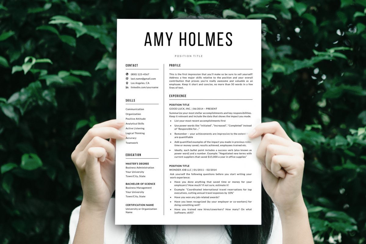 "Bold Resume Template ""Amy"" + BONUS | Resume Mockup"
