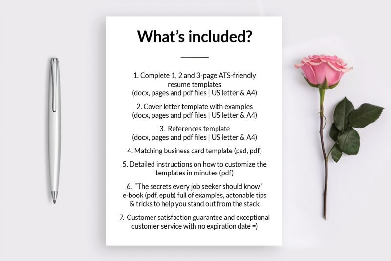 "What's included in your purchase - ""Emma"" resume template package"