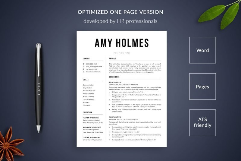 """1-page resume template / CV template included in """"Amy"""" resume makeover package"""