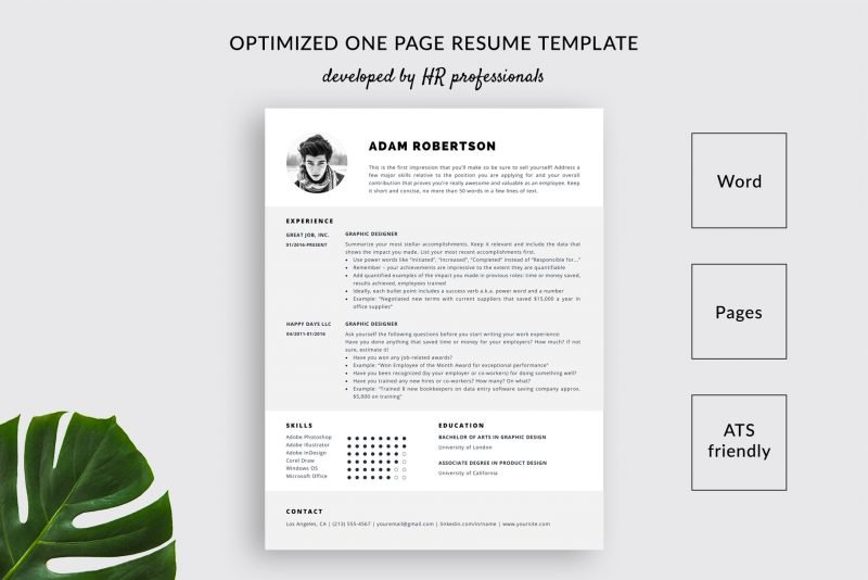 "1-page resume template / CV template ""Adam"" for Microsoft Word and Mac Pages by TemplateHippo"