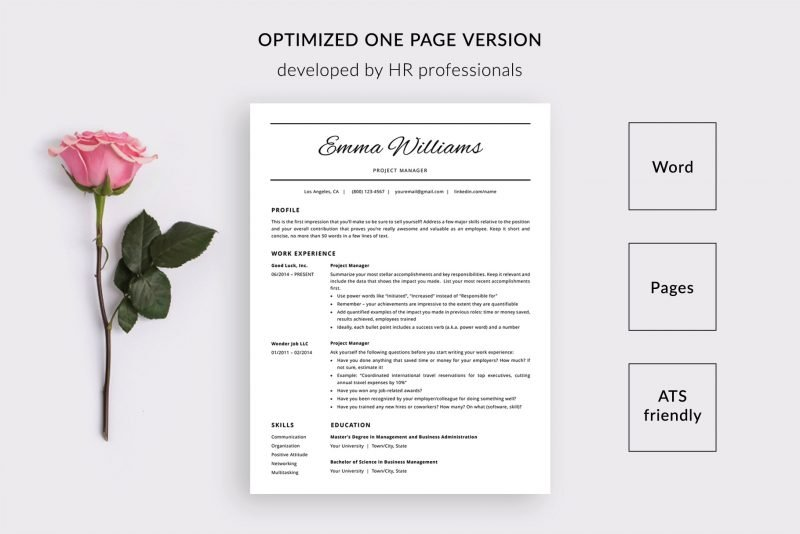 "1-page CV template / resume template ""Emma"" by TemplateHippo"
