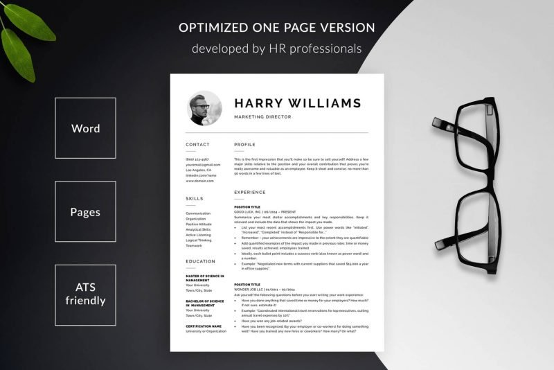 """1-page resume template with photo for Word and Pages """"Harry"""""""