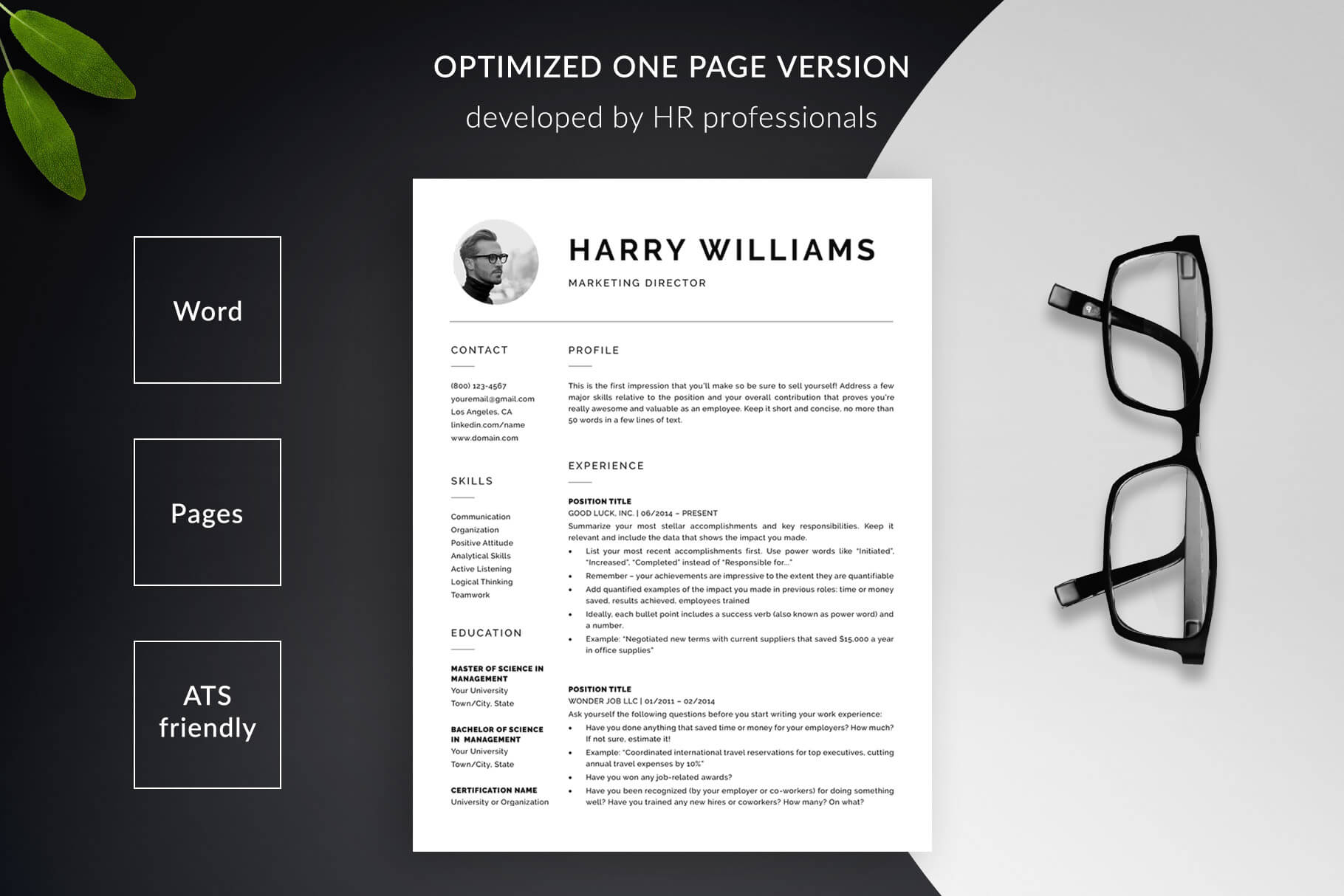 Clean Resume Template & Cover Letter Template \