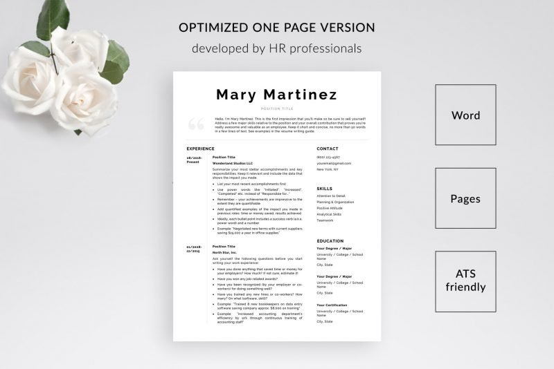"1-page resume template for Microsoft Word and Mac pages included in ""Mary"" by TemplateHippo"