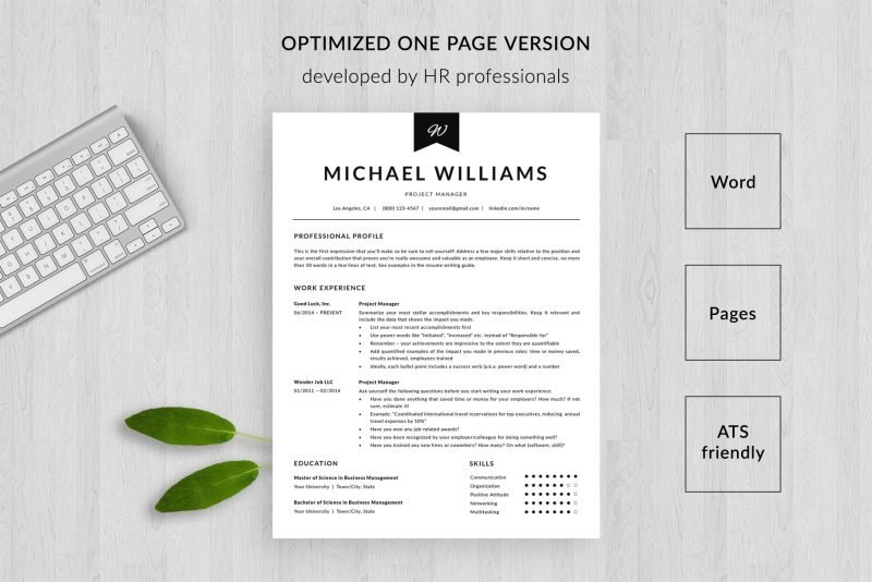 """Optimized one page resume template for Word and Pages """"Michael"""""""