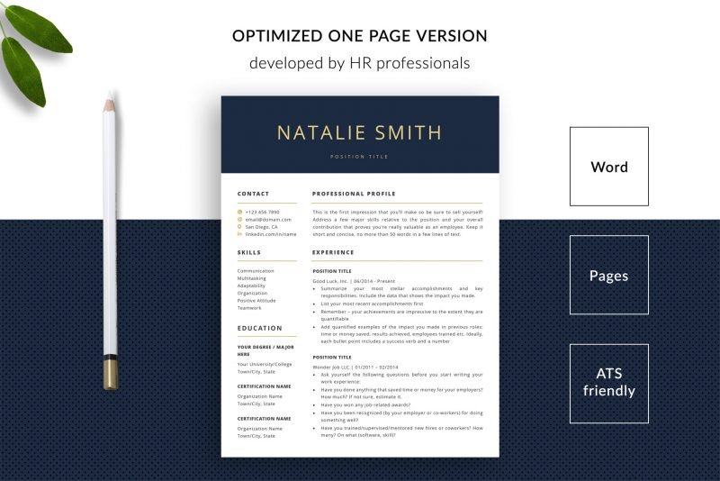 Modern optimised resume template for Word and Pages by TemplateHippo