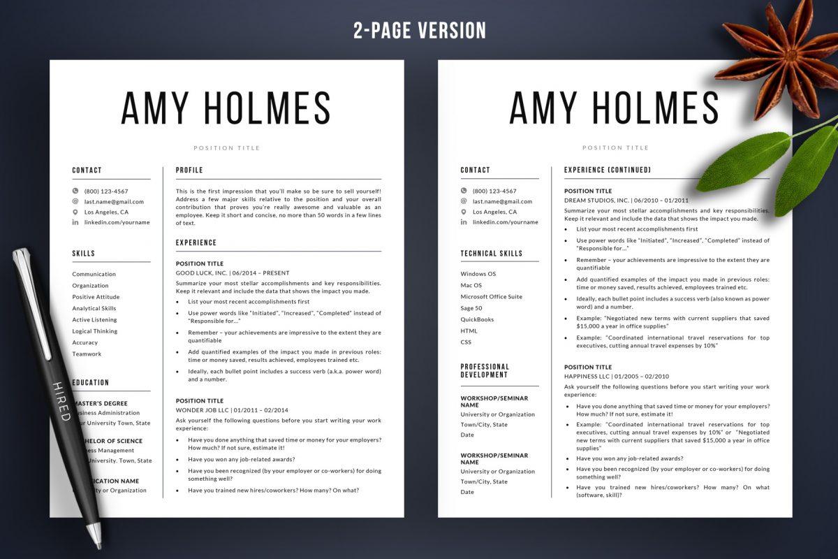 "Bold Resume Template ""Amy"" + BONUS | 2-Page Version"