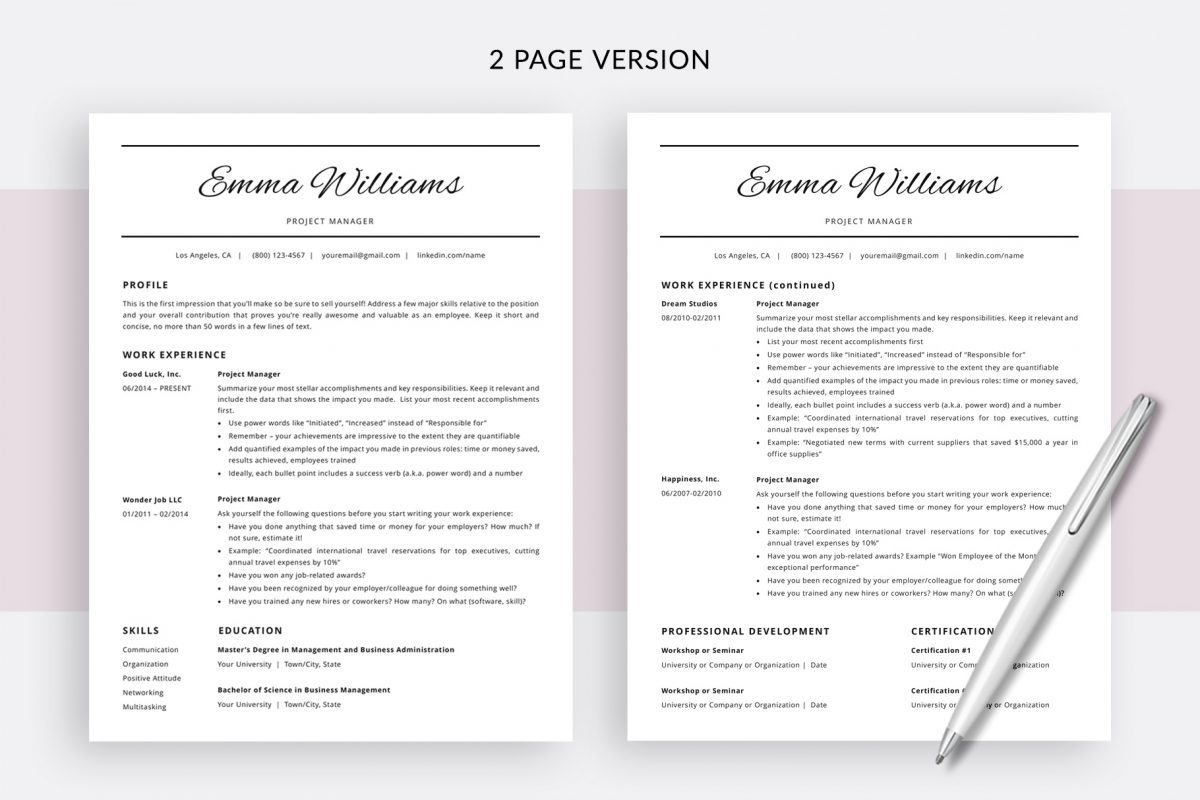 "Elegant Resume Template ""Emma"" + BONUS | Two Page Resume Template / CV"