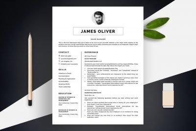 """Sharp Resume Template """"James"""" + BONUS   1-Page Version"""