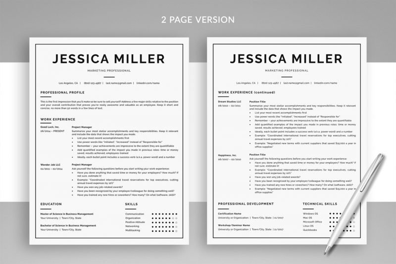 "Classic Resume Template ""Jessica"" + BONUS | Two-Page Version"
