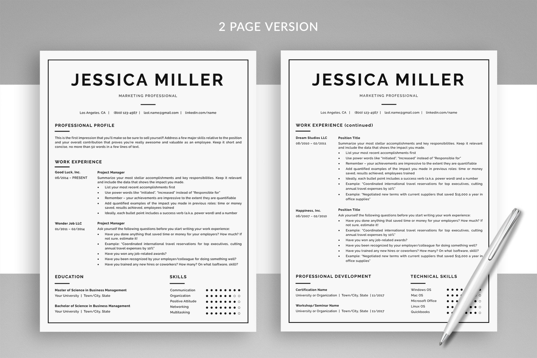 Classic Resume Template & Cover Letter Template \