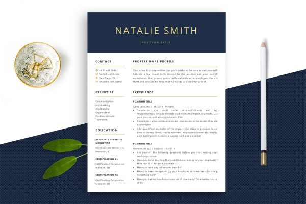 "Stylish Resume Template ""Natalie"" + BONUS 