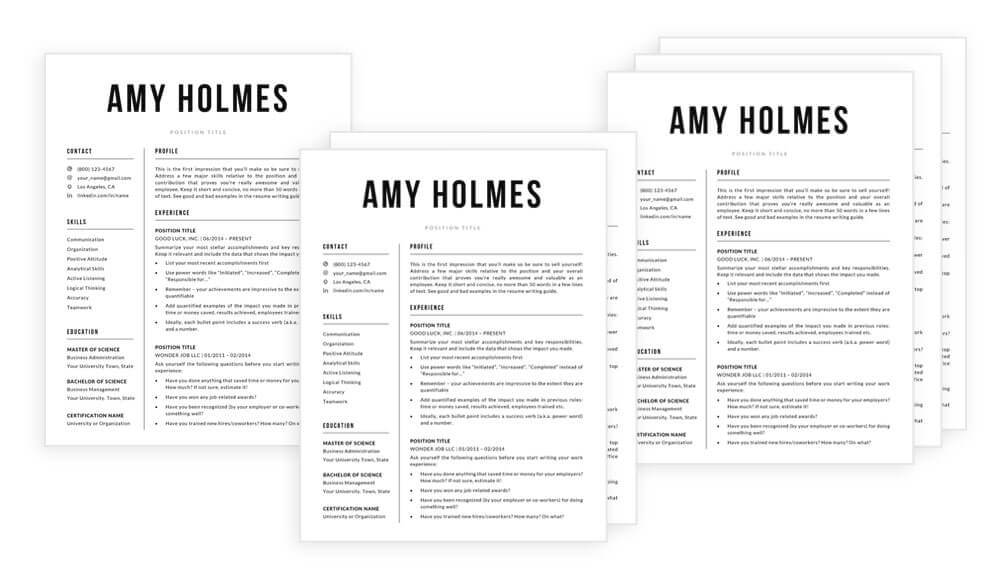 """1-page resume template, 2-page resume template and 3-page resume template included in """"Amy"""""""