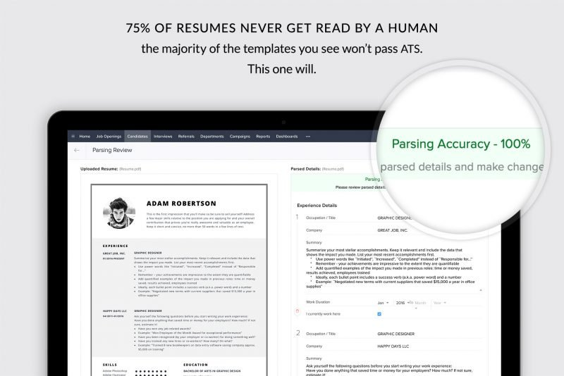 """ATS friendly resume template / CV template """"Adam"""" for Microsoft Word and Pages"""