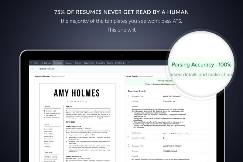 """""""Amy"""" is an ATS-friendly resume template, tested by TemplateHippo"""