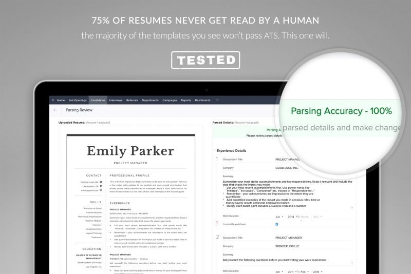 This resume template is ATS-friendly by design - tested by TemplateHippo