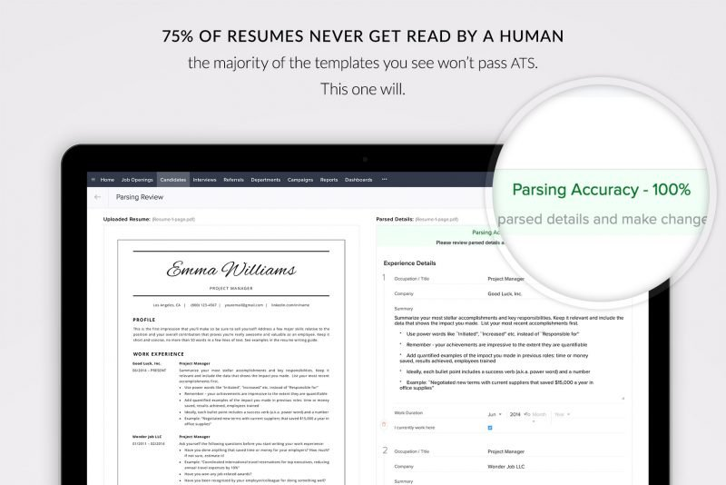 ATS friendly CV template / resume template for Microsoft Word and Mac Pages