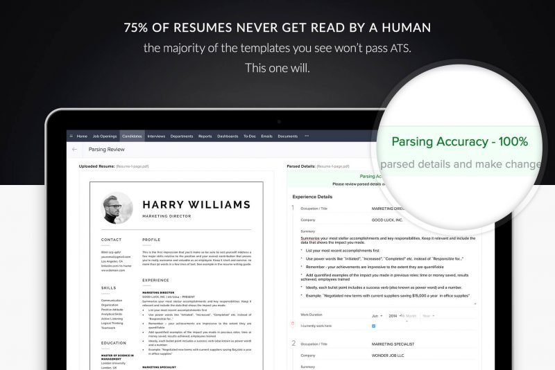 "ATS-friendly ATS-compatible resume template / CV template with photo ""Harry"""