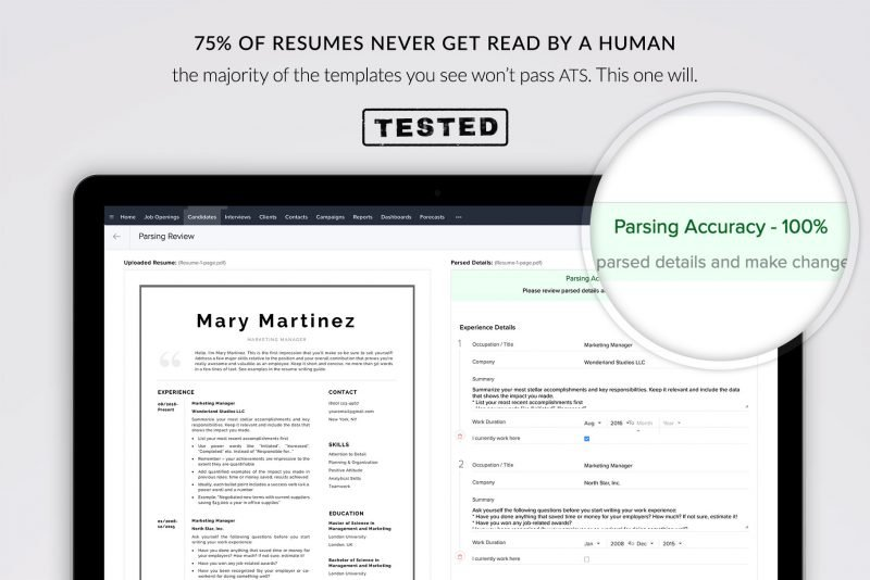 "ATS-friendly resume template ""Mary"""